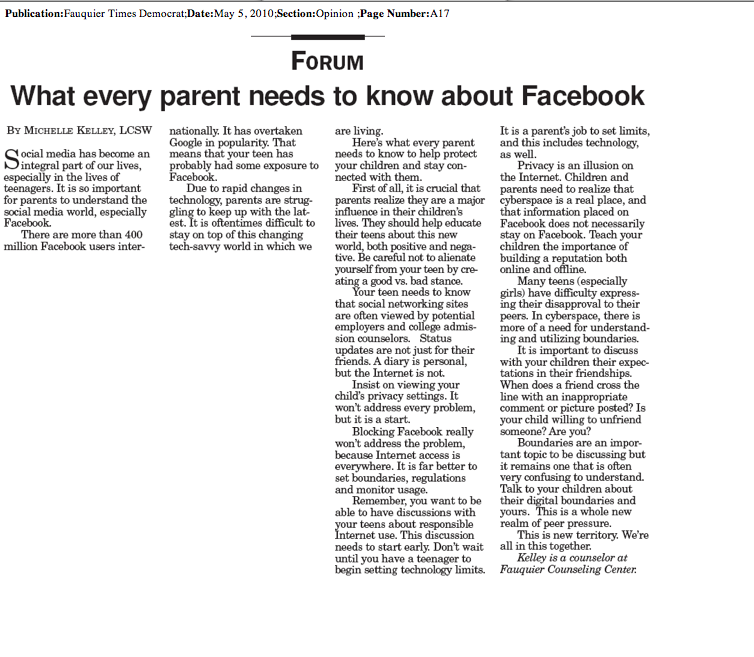 What Every Parent Needs to Know About Facebook, by Michelle Kelley, LCSW, Warrenton VA